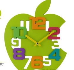 New Arrival wall clock fashion apple shaped clock home decor gift craft product 4 colors retail&wholesale free shipping HD036(China (Mainland))