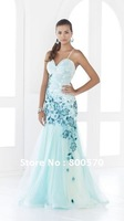 Light Chiffon Blue Elegant Lace Evening Dress