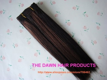 "2 Pieces/Lot Mixed (50% Human Hair&50% Heat Resistant Fiber) Straight New Yaki Hair Weave Weft Color PFR1B/33# Length 10""-22"""