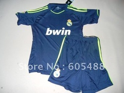 Free shipping ! 12-13 Real Madrid away kids soccer uniform, Real Madrid black kids soccer jersey(China (Mainland))