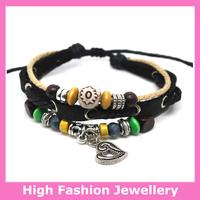 B0306 fashion genuine leather bracelets,hot sale high quality handmade tribal jewelry,100% cow leather charm wristband 12pcs/lot