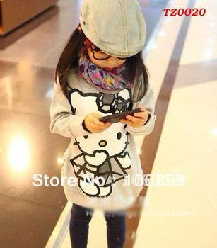 Free shipping! 5pcs fashion hello kitty baby T shirt cartoon Tee Children girl hoodie baby hello kitty clothes