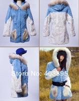 100% Natural Rabbit Wool Fur Coat Long Hooded Women's Outerwear Winter Coats Fashion Jackets(XS-XL),Free Shipping