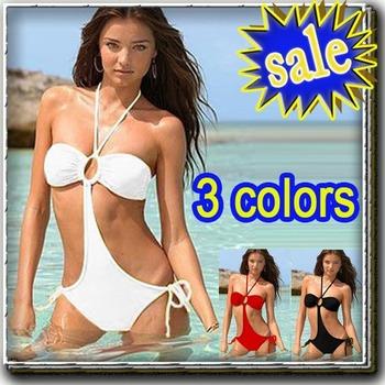 with ring Sexy Lingerie Halter Plain Black bikini swim suit white red Halter Ring Tankini Teddies Swimwear women Swimsuit A1620