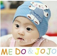 Korean Autumn Winter  little bear children caps /affixed cloth cap /cartoon cotton children hat baby hat 10pcs=1lot  MIX COLORS