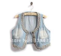 2013 summer fashion women's new arrival twist braid denim  small vest