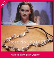 Wholesale and Retail fashion new metal flower chain headband Elastic hair band wedding hairband 12pcs/lot
