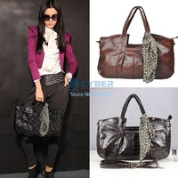 Free Shipping Women Ladies Tote Bag With Scarf Fashion 2012 Purse PU Leather Handbag Shoulder Bag