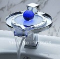 Free Ship Glowing Pearl  Waterfall LED Brass Faucet Bathroom Mixer Tap Chrome Finish 3 Colors YS 9888(China (Mainland))