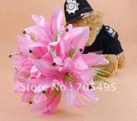 HOT SALE!!! Free Shipping Silk Wedding Bridal Lily Flower Bouquet 12 Stems