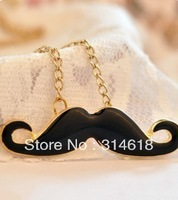 Black red pink blue Moustache Handlebar Cosplay Mustache golden Long Necklace Beard necklace 24 pcs/lot Free Shipping