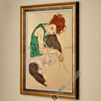 Free shipping of canvas painting in roll to most countries, The Artist's Wife, 100% Handmade Reproduction of Egon Schiele
