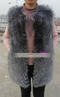 EMS Free Shipping!Long style 100% silver fox fur vest. Popular fur vest with fashion design. Hot selling with wholesale price.