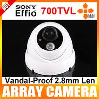 "2.8mm Lens 1/3"" Sony Super HAD CCD II  700TVL Array LED IR Dome Waterproof Camera with OSD Menu Color White CCTV Camera"