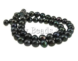 Natural Potato Cultured Freshwater Pearl Beads, A grade, black pearl beads, with rainbow iridescent, 7-8mm, Hole:Approx 0.8mm(China (Mainland))