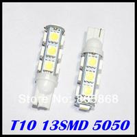 2014 External Lights Free Shipping Wholesale 10pcs T10 13 Smd 5050 Indicator Light Auto Car Led Bulb