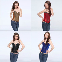 Sexy new Satin with sequin clubwear show gilr corset buister bodyshaper S-2XL 4 Colors  Factory Supplier