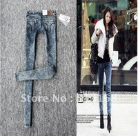 Fashion Korean Hot Sale Slim Ladies' trousers Light blue snowflake denim jeans free shipping