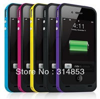Fast Free Shipping 2000mAh Rechargeable External Battery Case Cover Charger for Apple iPhone 4 4s 4G 7 Colors (with Retail Box)