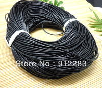 Free shipping Jewelry DIY 100Meters 2mm Black Round Genuine Leather Cord, Necklace & Bracelet Cord