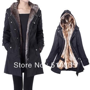 free shipping 2013 Faux fur lining women's fur hoodies ladies coats winter warm long coat jacket clothes plus size 1277MAOMAO