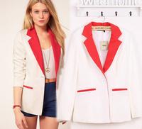 FS314 Free shipping!Fashion Design Good Quality European Style White Coats