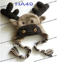 free shipping,20pcs/lot 100% cotton CROCHET PATTERN - Moose or Reindeer Crochet Hat infant beanie infant knitted Cap