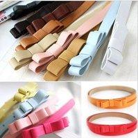 accessories candy chromophous women's thin belt double layer bow strap personalized fashion cummerbund