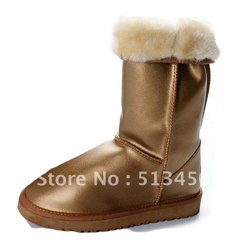 Gold snow boots 5812, Classic tall Australian sheepskin boots,wholesale price boots(China (Mainland))