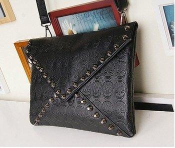 Fashion Ladies' BLACK Envelope Handbag rivet Totes Design Shoulder Bag  Wholesale