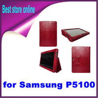 1 Piece Free Shipping 5 Color Stand Leather Case Cover for Samsung Galaxy Tab 2 10.1 P5100