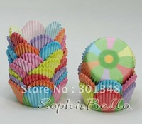 100 pcs colorful petal celebrated paper cupcake liners baking cups muffin cases bakery decorations E196 K