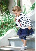 2012 Wholesale 3-pcs cotton baby clothes suit kids clothing set (fashion coat +dress+Long-Sleeve tops),5 set/lot,Free Shipping
