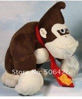 "Free shipping 6pcs /lot 9"" Super Mario toy Red tie Donkey Kong plush doll"