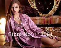 NWT cute silk women's 2 piece wraps dressing gown pink violet with camisola Lingerie night sleep gown robe sets bathrobe 9221