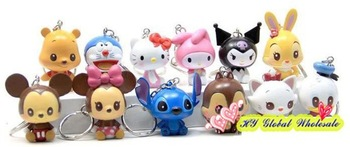 Freeshipping! NEW Creative hello kitty series keychain/cartoon keychain/12pcs per set/great gift