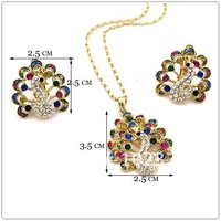 peacock pendant crystal necklace clip  earrings NJ-474 multi-colors Neoglory Jewelry freeshipping Promotion Rihood For sale gift