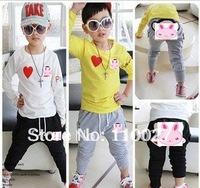 New 2014 baby & kids clothing set casual suits 5pcs wholesale children clothes wear boy girl sets cotton t shirt + harm pants