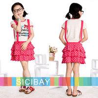 New summer star Dot Bow suspender design baby girl party dresses kids tutu child short sleeve clothes girls dress K0380