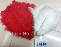 Free shipping 100pcs/ lot 10-12inch 25-30cm 50pcs white+50pcs red, ostrich feather, real ostrich feathers wholesale