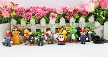 18pcs/set Super Mario keychain Bros Luigi Peach Toad Action Figures  youshi mario Gift OPP Free Shipping