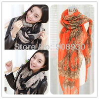 Free shipping Women Leopard Scarf/Hijab/shawl/muffer Voile Fashion design 180*110cm Big Wrap garment accessory Wholesale