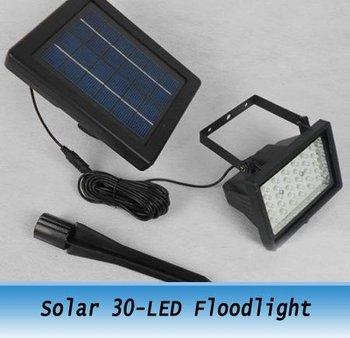 Freeshipping Outdoor Solar lamp 30 LED Wall Mount Light  5V/2W solar spotlight