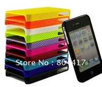 Wholesale 10pcs Super Slim Net Hole Cases Skins Back Covers for Apple Iphone 4 4S, Free Shipping