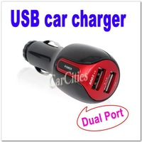 Dual port USB car charger,Mini universal car charger Adaptor for iPad,iPhone 4/3G/3GS,iPod,BlackBerry,mobile phones USB devices