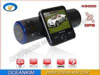 Car DVR , Car Black Box X6000 with Dual Lens + G-Sensor + GPS + IR Light ! Free Shipping