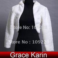 Free Shipping GK Faux Fur Ivory Wedding Bridal Wraps Bridal Shawl Jacket Coat Bolero CL2621