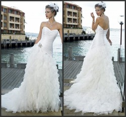 2013 discount Ball Gown Prom Fashion putty sweetheart Wedding Dress satin Manufacturer promotion custom made size and color(China (Mainland))