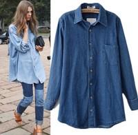 z101 Stars new  women winter retro cowboy long-sleeved shirt denim pluz size shirt