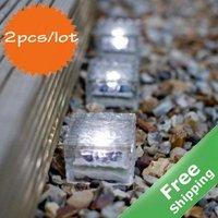 Solar Ice Brick Light+1 Bright LED+Square sharp+100% Solar powered+2pcs/lot+Free shipping